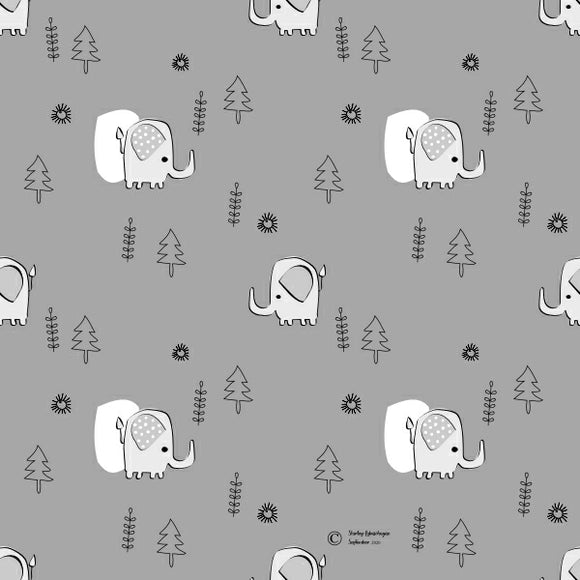 FABArt Custom Print Fabric - Showcase SA Designer Shirley Labuschagne - Kids 21 Elephants