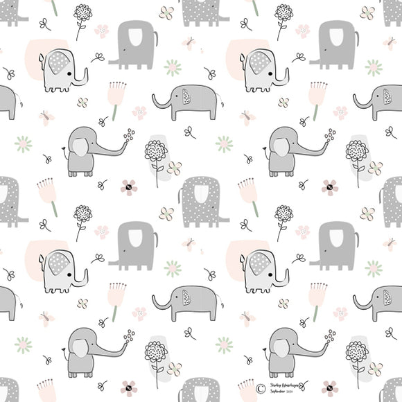FABArt Custom Print Fabric - Showcase SA Designer Shirley Labuschagne - Kids 22 Elephants