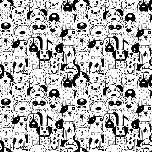 Designer Fabric - per metre - Black and White Doodle Dogs-The Face Painters South Africa for professional face paint supplies