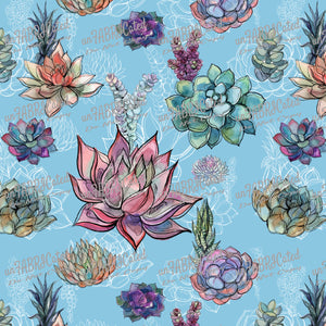 FABArt Custom Print Fabric - Showcase SA Designer unFABRICated - Succulents on Teal (printed without watermark)