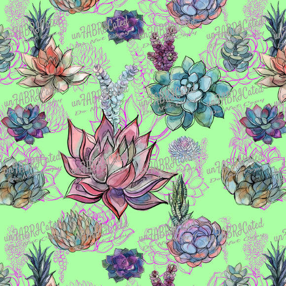 FABArt Custom Print Fabric - Showcase SA Designer unFABRICated - Succulents on Green (printed without watermark)