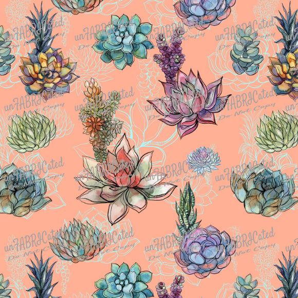 FABArt Custom Print Fabric - Showcase SA Designer unFABRICated - Succulents on Peach (printed without watermark)