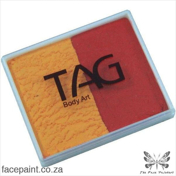 Tag Face Paint Split Cake Base Blender Golden Orange / Red Paints