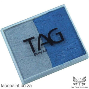 Tag Face Paint Split Cake Base Blender Pearl Silver / Blue Paints