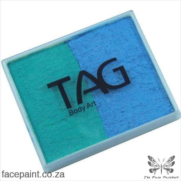 Tag Face Paint Split Cake Base Blender Pearl Teal / Sky Blue Paints
