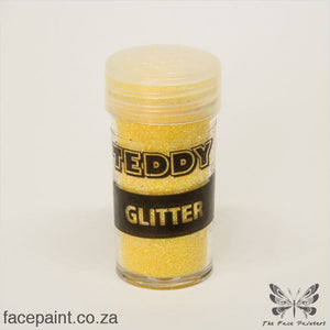 Teddy Glitter Shaker Rainbow Yellow