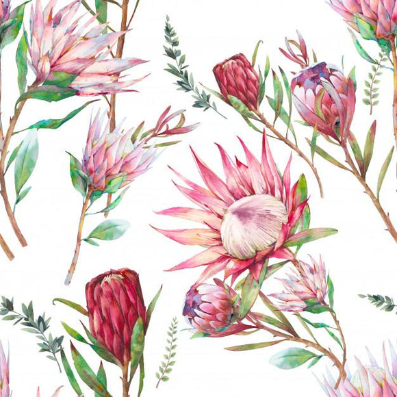 Designer Fabric - per metre - Watercolor Flower Protea-The Face Painters South Africa for Custom-Printed Fabric and Facepaint Supplies
