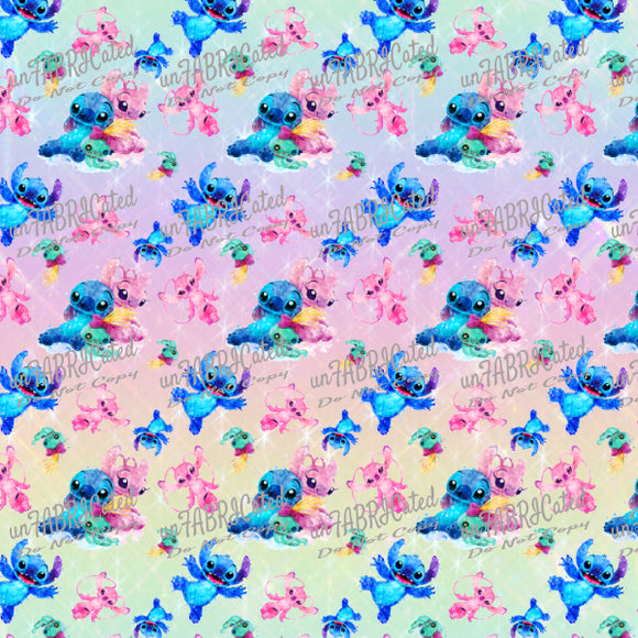 FABArt Custom Print Fabric - Showcase SA Designer unFABRICated - Watercolour Aliens (printed without watermark)