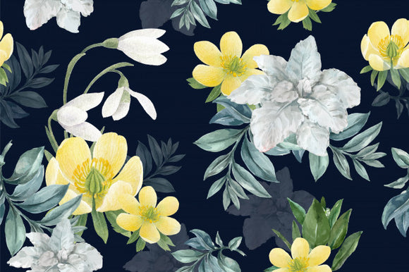 Designer Fabric - per metre - Winter Bloom Galanthus Anenome-The Face Painters South Africa for professional face paint supplies