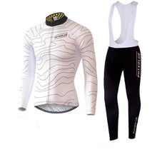 Wave Lines Winter Cycling Jersey and Tights Combo WHITE