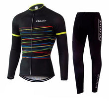 Load image into Gallery viewer, Rainbow Lines Winter Cycling Jersey and Tights Combo