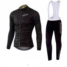 Wave Lines Winter Cycling Jersey with Bib Tights Combo BLACK
