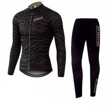 Load image into Gallery viewer, Wave Lines Winter Cycling Jersey and Tights Combo BLACK