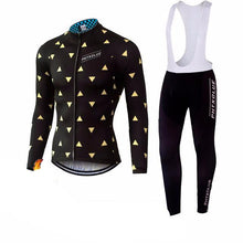 Triangle Pattern Winter Cycling Jersey and Tights Combo