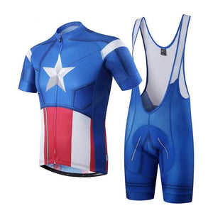 ff6d424c2 Captain American Cycling Jersey and Bib Shorts Combo – Quirky Jerseys
