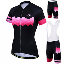 Load image into Gallery viewer, Black and Pink Women Cycling Jersey and Shorts Combo