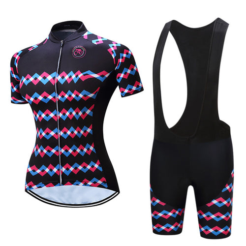 Zig Zag Lines Women Cycling Jersey and Shorts Combo
