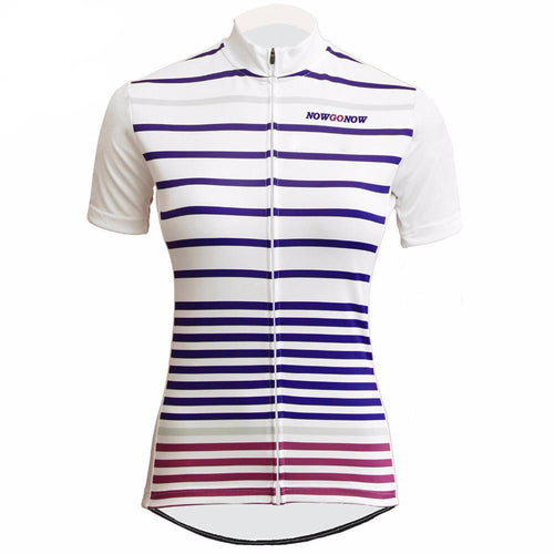 Now Go Now Striped Women Cycling Jersey