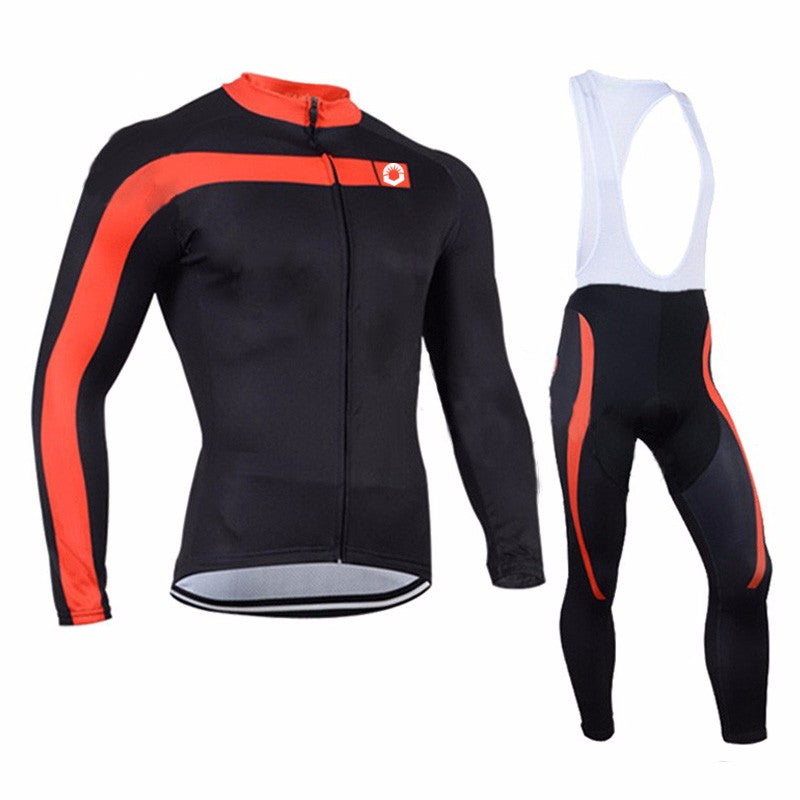 Black with Red Thermal Fleece Long Sleeve Cycling Jersey and Shorts Combo