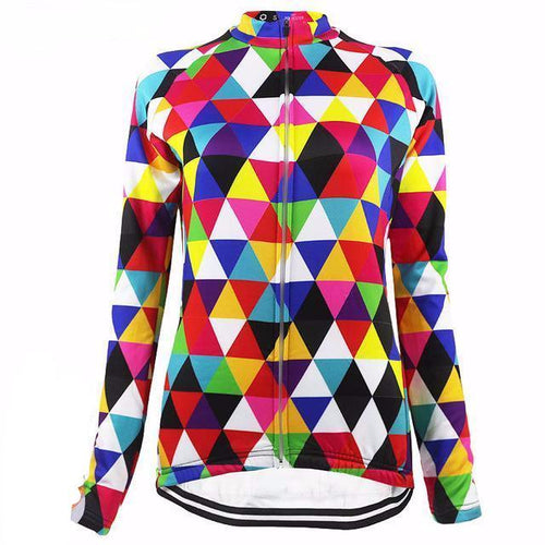 Colourful Triangles Thermal Long Sleeve Women Jersey