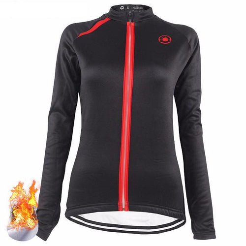 Black and Red Long Sleeve Women Jersey