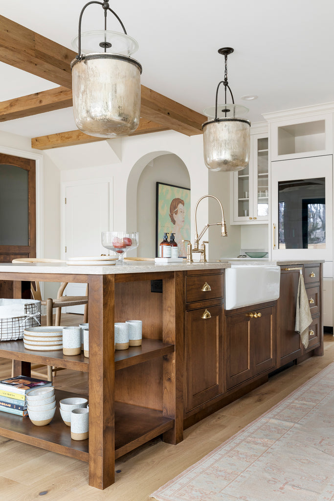 Rustic Style Kitchen with Brass Hardware