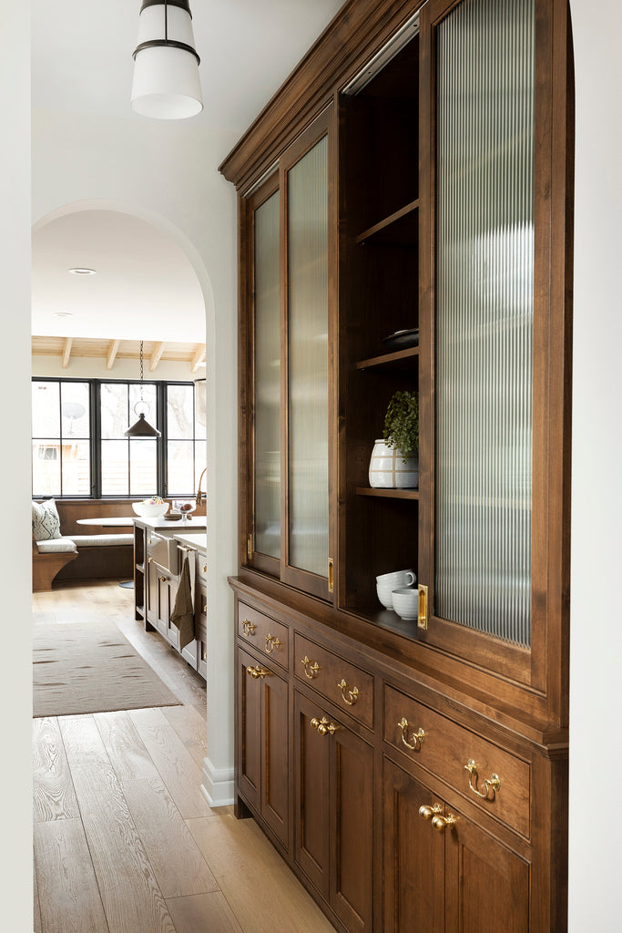 Rustic Style Pantry with Brass Hardware