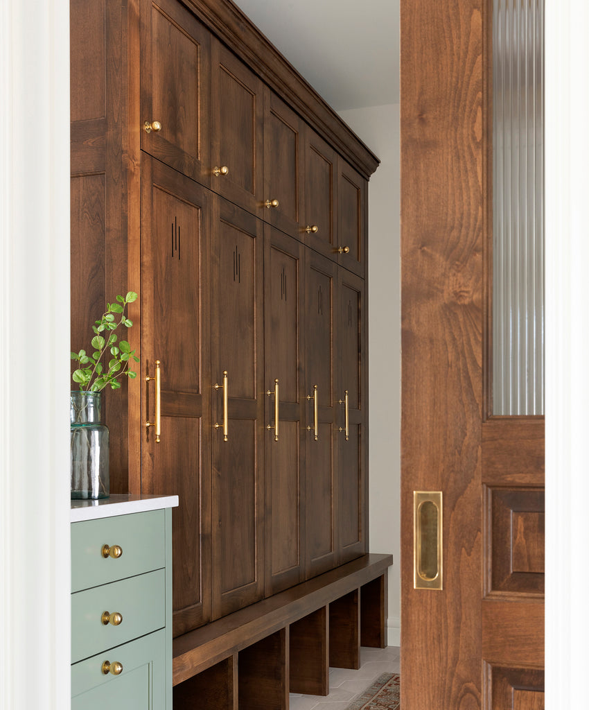 Bootroom with Brass Hardware