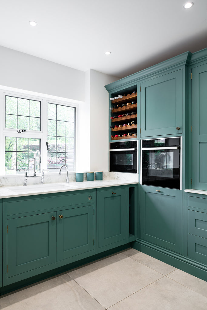 Turquoise Kitchen with Marble Worktop