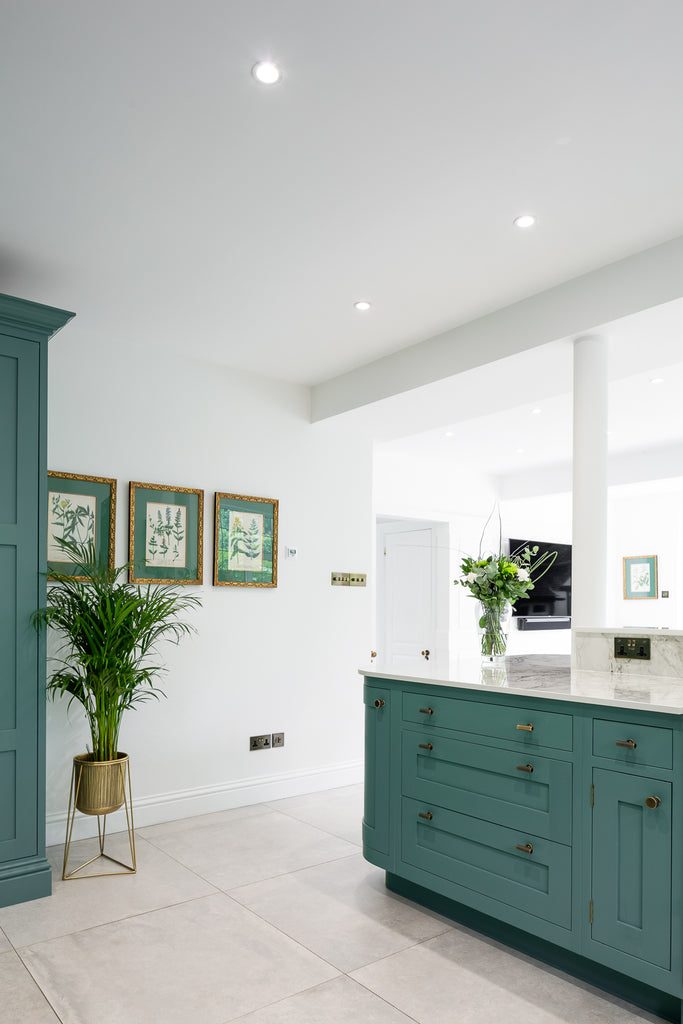 Turquoise Kitchen with Marble Island