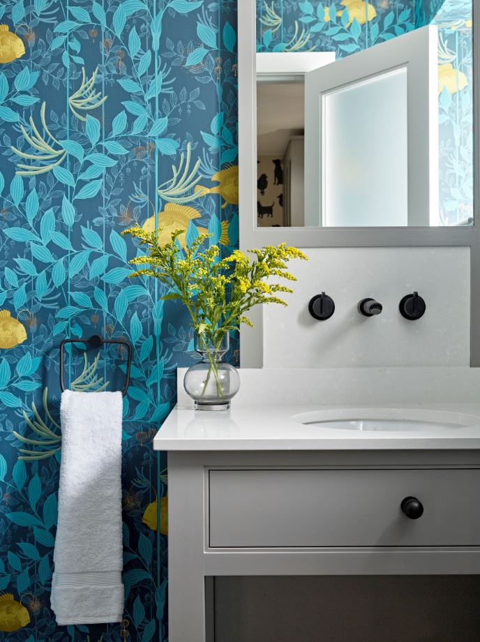 Bathroom with bold wallpaper