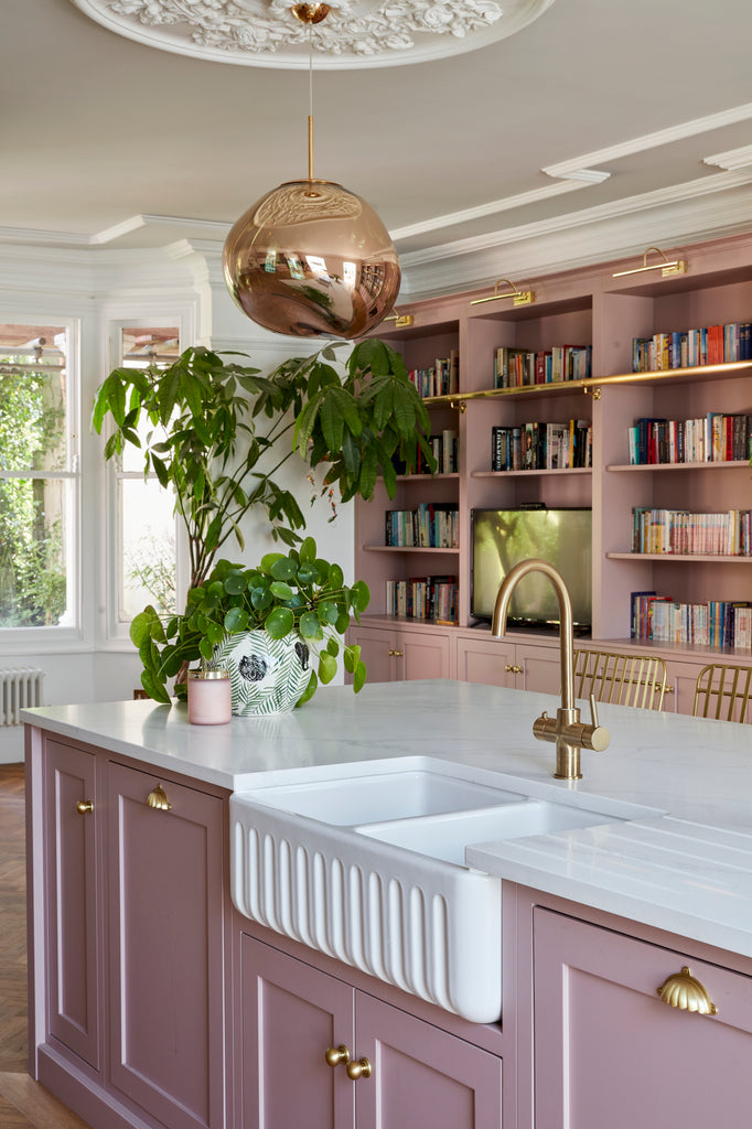 Pink Kitchen Island with Marble Worktop and Brass Handles