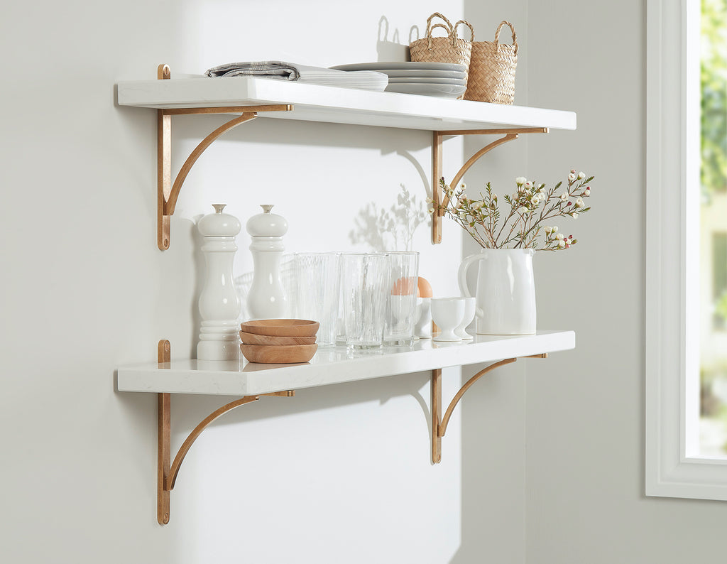 bright and airy styled open kitchen wall shelves