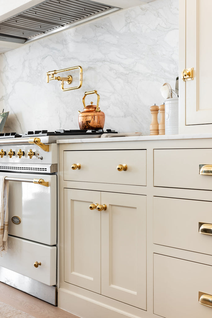 studio mcgee kitchen cabinets polished brass unlacquered hardware