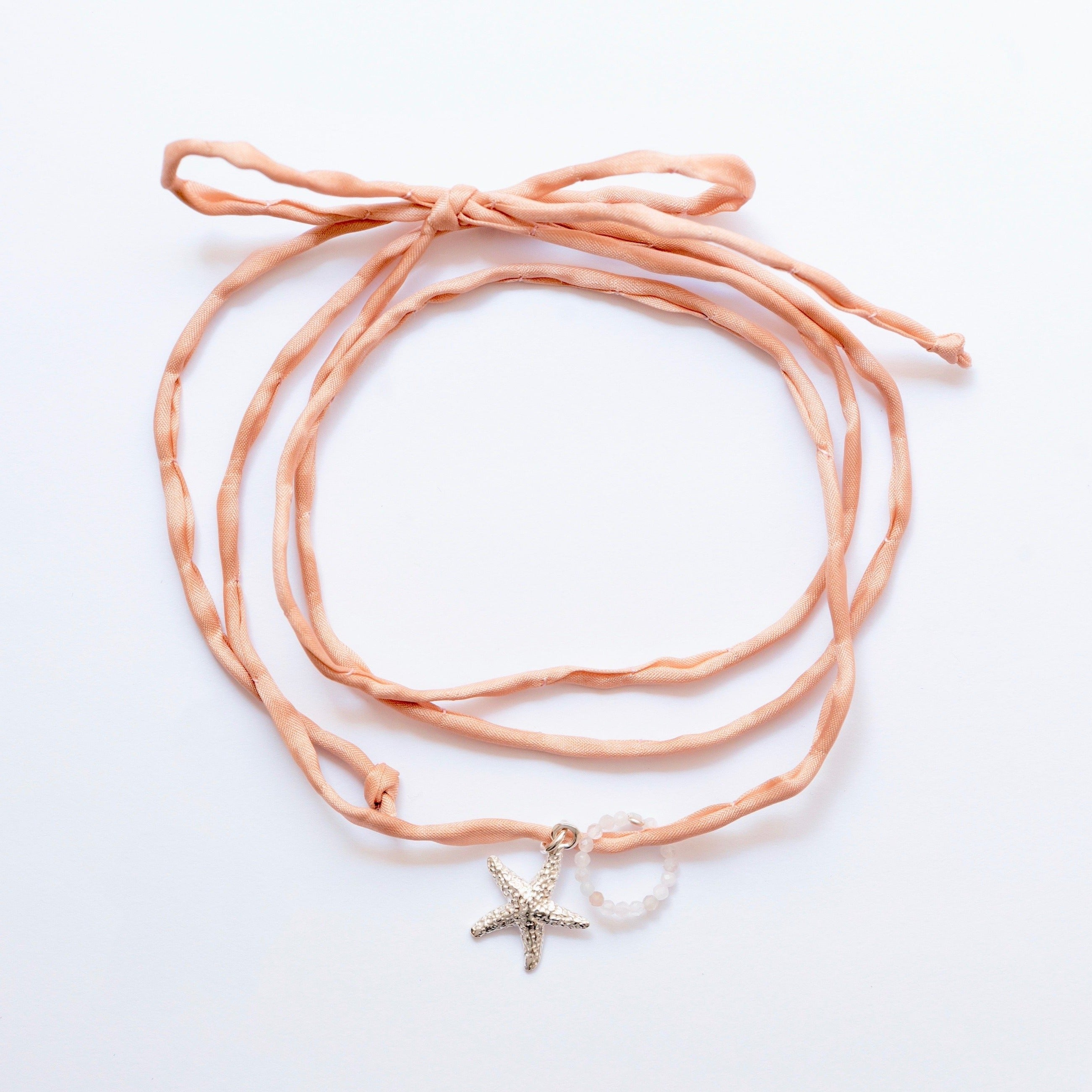 Necklace Sea Star - Powder Pink Silk