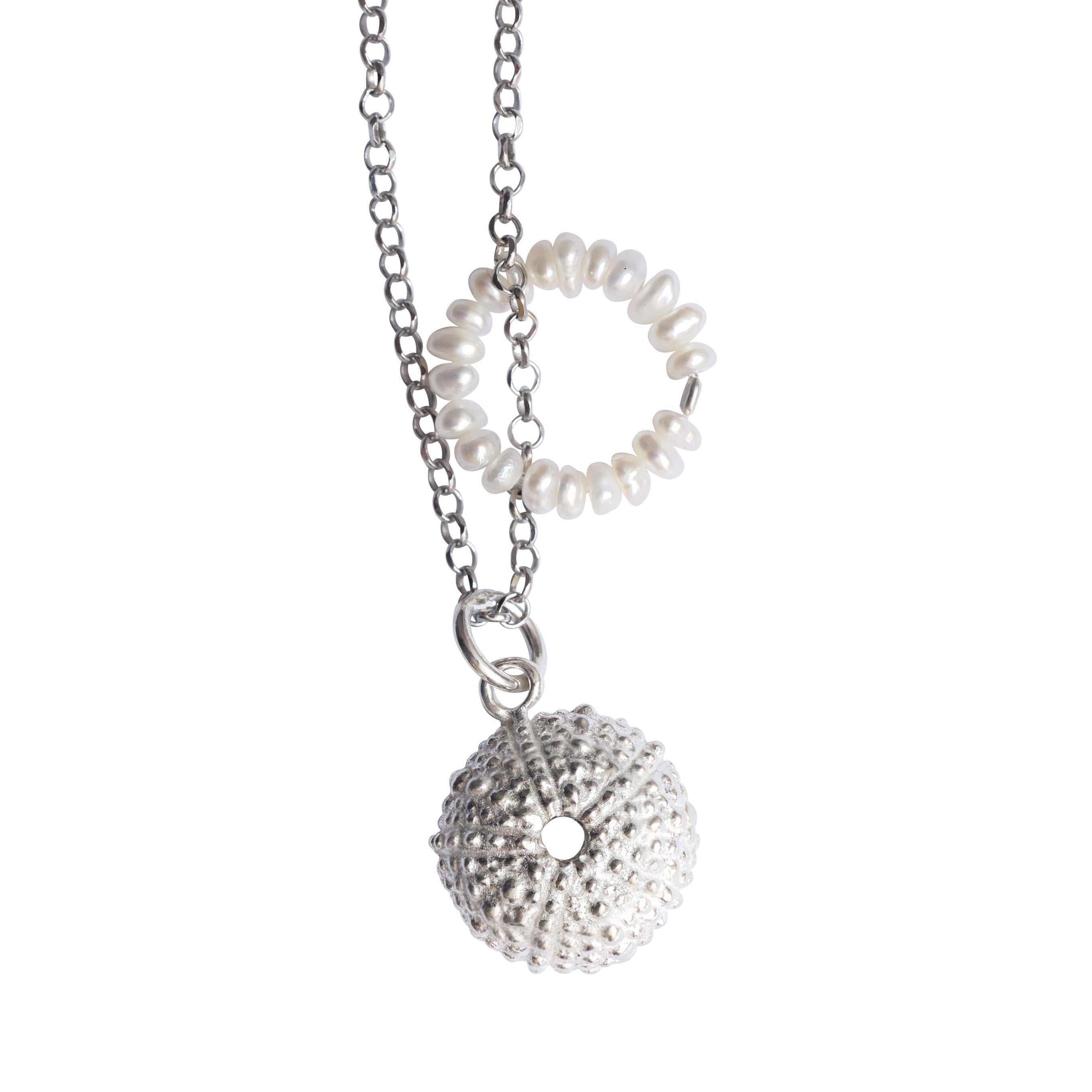 Necklace Sea Urchin - Pearls - Silver
