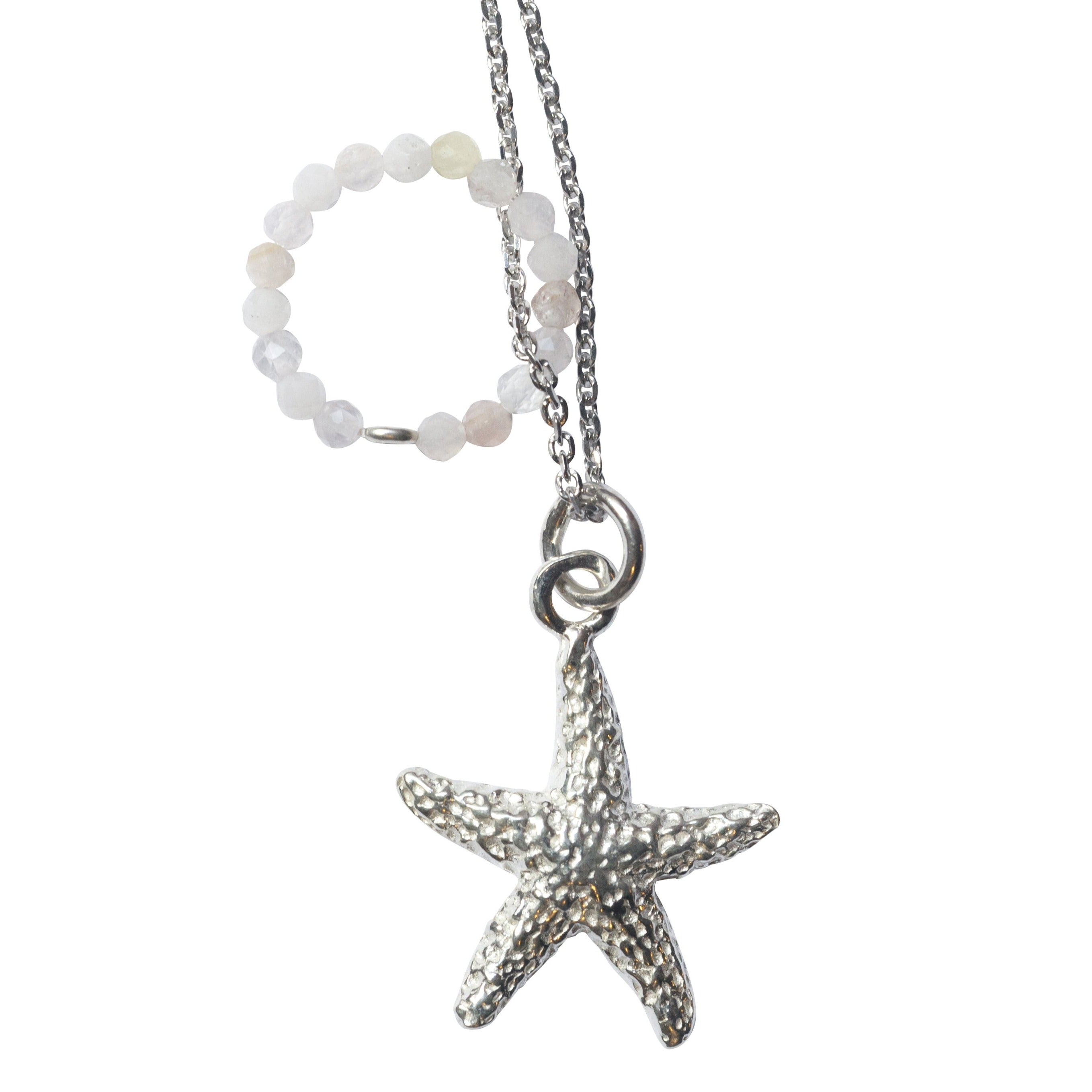 Necklace Sea Star - Rose Quartz - Silver