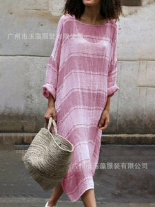 Casual Loose Striped Long Sleeve Round Neck Dress
