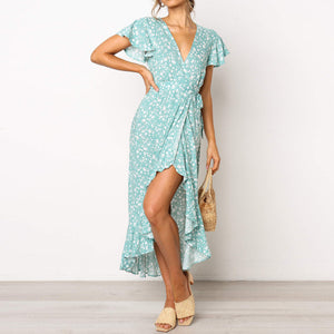 Summer Print Short Sleeve V-Neck Chiffon Dress