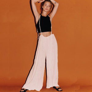 2019 Women's Retro Wide Leg Pants Strap Sling Jumpsuit