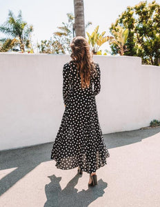 Sexy Spot Cardigan Long Sleeved   Dress Long Skirt