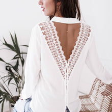 Sexy V-Neck Perspective Openwork Lace Long-Sleeved Shirt