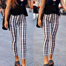 Waist Plaid Tight-Fitting Slim Pants