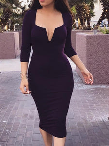 Slim-Fit Bag Hip V-Neck Dress