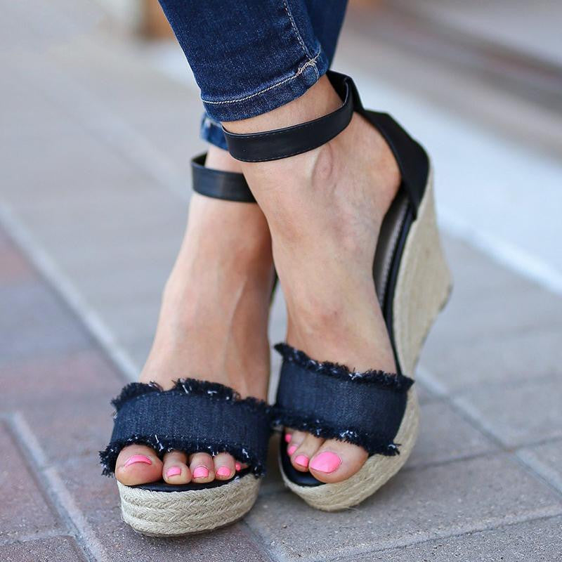 Spring And Summer New Hemp Rope Wedge With Light Bottom Ladies Sandals