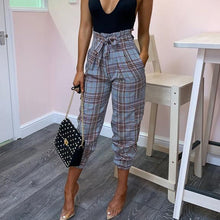 Fashion Wild High Waist Printed Plaid Pants