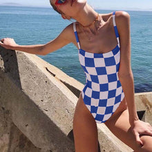 Plaid Printed Sling Piece   Jumpsuit Swimsuit