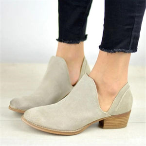 Fashion Plain Pointed Toe Coarse Heel Anckle Boots