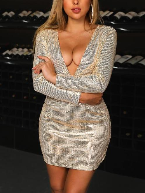Sequined Sexy V-Neck Tight Body Dress