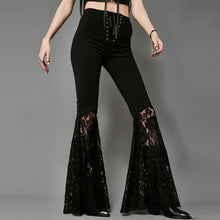 Solid Color Wide Leg Horn Lace Stitching Pants